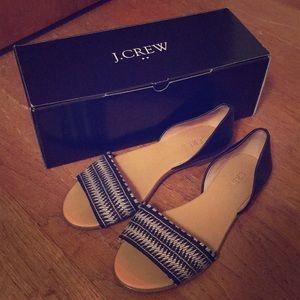 JCrew women's Morgan woven peep toe flats - 6